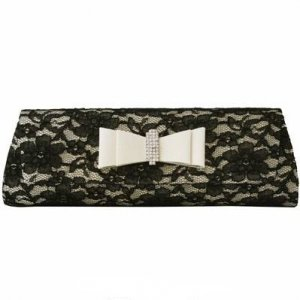 Black Lace And Champagne Satin Clutch with Rhinestones