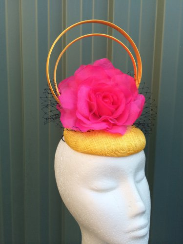Yellow and Pink Fascinator Headpiece