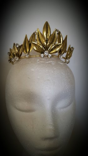 Gold Crown Tiara, Leaf Halo, Gold Leaf Headpiece,