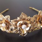 Gold CrownTiara, Leaf Halo, Gold Leaf Headpiece,
