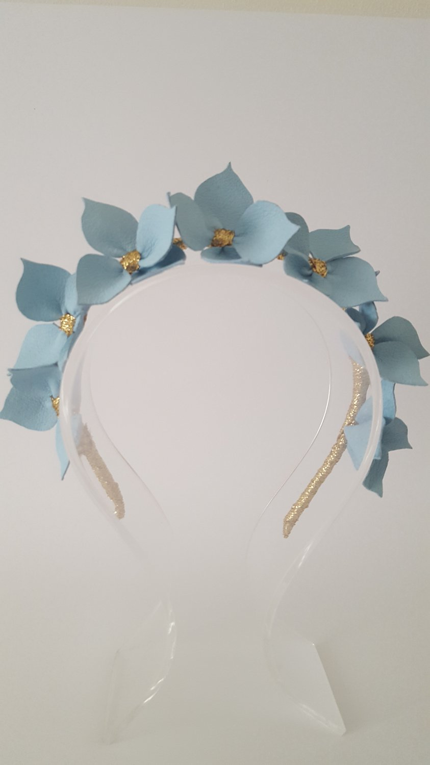 CELESTE Light Blue Headband, Leather Flower Headpiece
