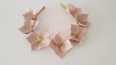 Dusk Pink & Gold  Leather Crown,Headband Fascinator