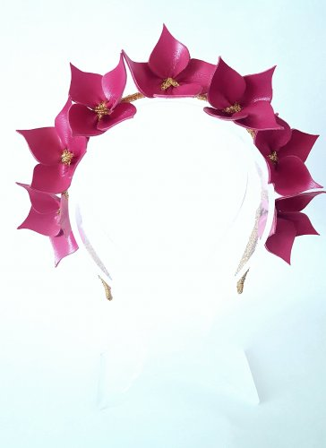 Raspberry Pink Headband, Suede Leather Crown,Leather Flower Headpiece, Wedding Fascinator