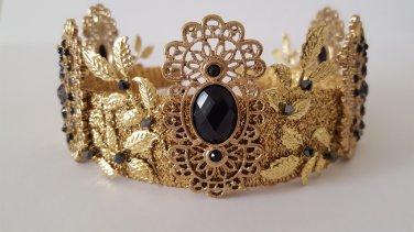 Fleur de Nuit Gold Crown Tiara