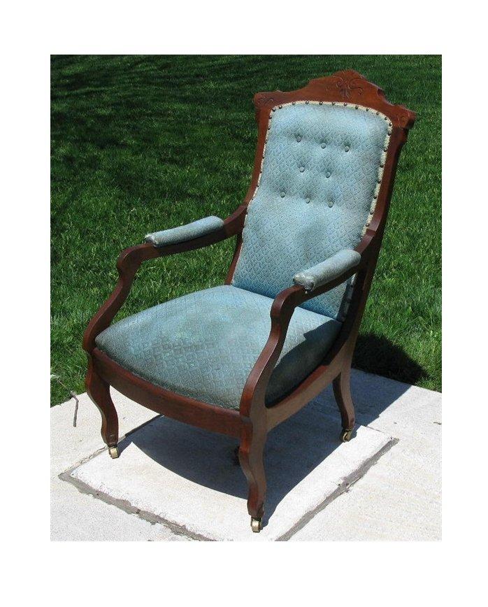 Eastlake Victorian Buttonback Walnut Upholstered Chair