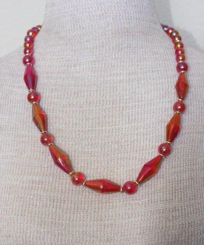 Unique Vintage Red Lucite Bead Necklace
