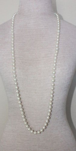 "Vintage White Pearl 40"" Long Strand Necklace"