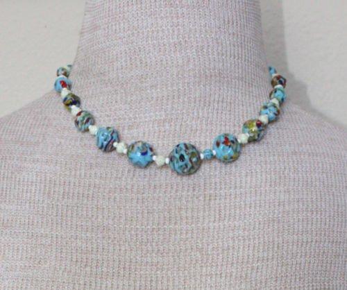 Unique Vintage Blue Tone Art Glass Necklace 1950s
