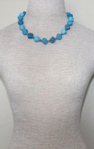 Unique Vintage Blue Tone Dice Necklace 1970s
