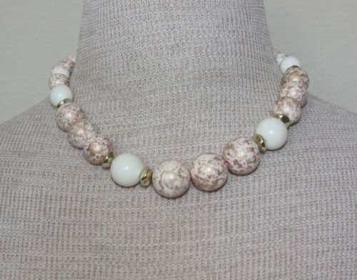 Vintage Cream & White Spotted Bead Chunky Necklace