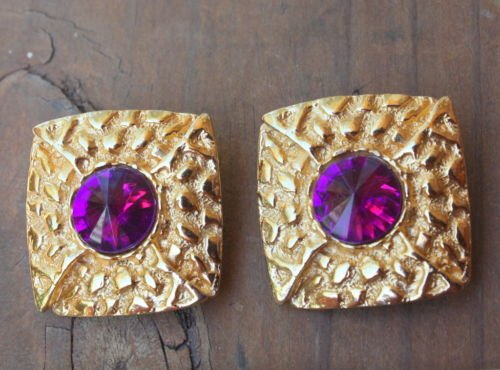 Vintage Dauplaise Purple Glass Chunky Clip On Earrings