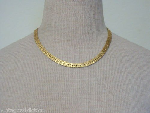 Deluxe Vintage Gold Tone Textured Wide Chain Necklace