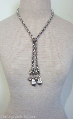 Classic Vintage Silver Tone Rope Lariat Necklace