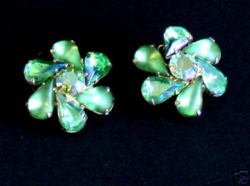 Vintage Green Rhinestone Prong set Clip On Earrings
