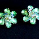 Vintage Green Rhinestone Prong set Clip On Earrings