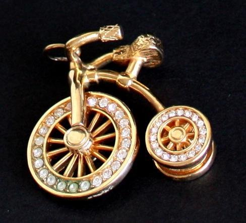 Vintage Unique Rhinestone Golden Bicycle Charm/ Pendant