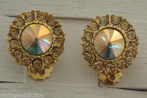 Vintage Ravioli Rhinestone Clip On Earrings