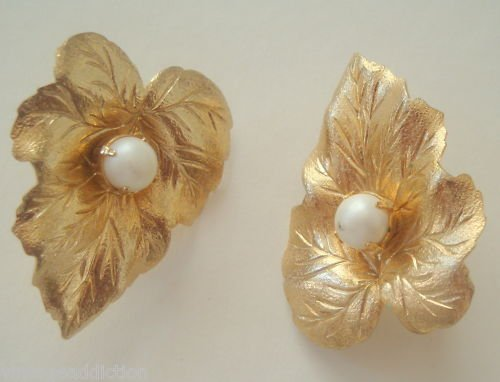 Vintage Sarah Cov  Golden Leaf Pearl Clip Earrings