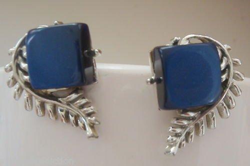 Vintage Coro Blue Lucite Clip On earrings