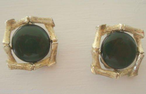 Vintage Lisner Olive Green Lucite Clip On earrings