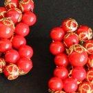 Vintage Designer Red Bead Clip On Earrings