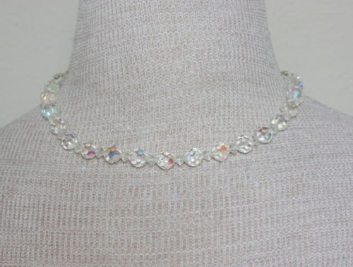 Vintage Aurora Borealis Crystal Glass Choker Necklace