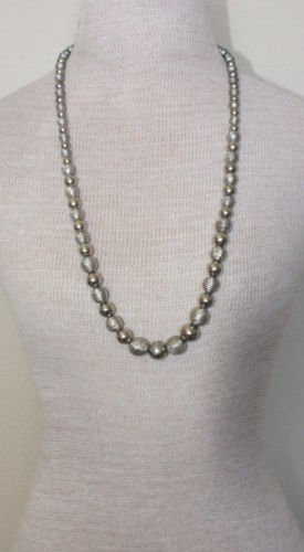 "Vintage Korea Silver Metal Beads Long 30"" Necklace"