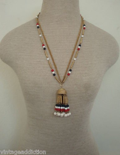 Colorful  Multi Strand Vintage Tassel Necklace
