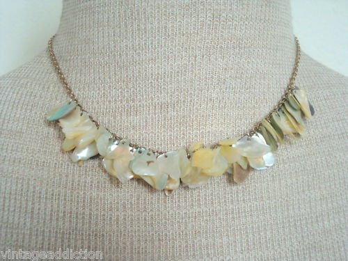 Vintage Mother Of Pearl Unique Bib Necklace