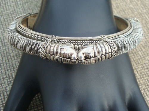 Unique Vintage Art Deco Snake Head Bangle Bracelet
