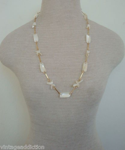 """Vintage Charming White Mother Of Pearl 28""""Long Necklace"""