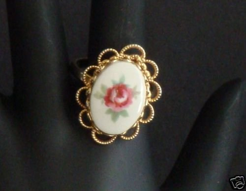 Vintage Glass Flower Ring Victorian Revival Adjustable