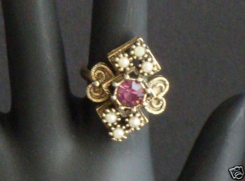 Vintage Sarah Cov Purple Rhinestone Ring Adjustable