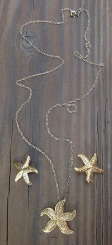 Vintage Gold Star Fish Necklace & Earrings Set