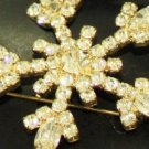 Vintage Snow Flake Rhinestone Pin/Brooch Holiday