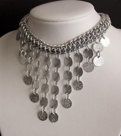 Glam Vintage Silver Bib Drop Statement Necklace Japan