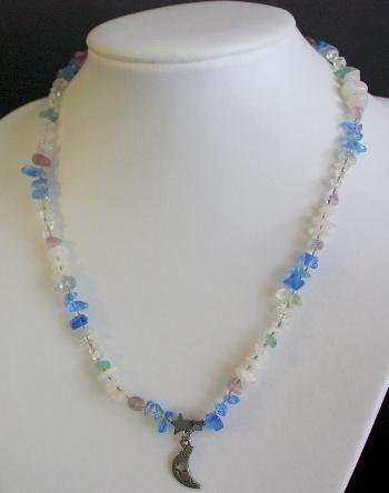 Vintage Blue Stone Sterling Pendant Necklace