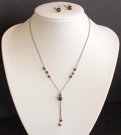 Vintage Maroon Glass Beads Necklace Earrings Set On 925