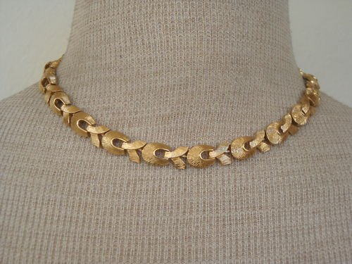 Vintage Monet  Brushed Goldtone Link Choker Necklace