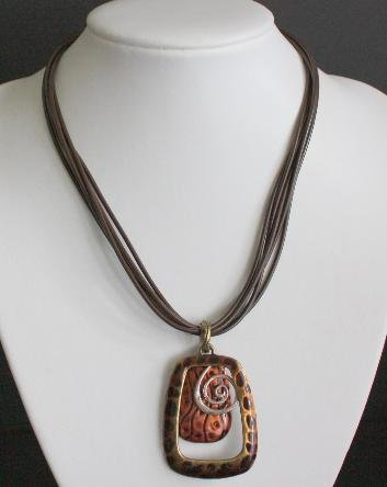 Vintage Brown Leather Chunky Necklace