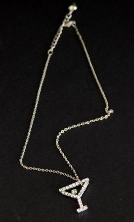 Vintage Rhinestone Cocktail Glass Pendant  Necklace
