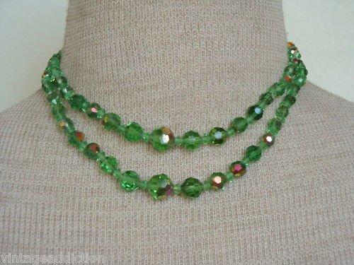 Vintage Green Aurora Borealis Glass 2 Strands Necklace