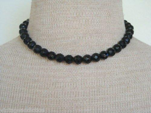 Elegant Vintage Laguna  Black Glass Necklace WT 1950s