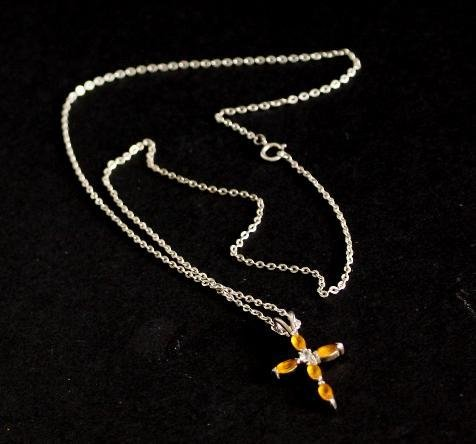 Vintage 925 Sterling Cross Stone Pendant Chain Necklace