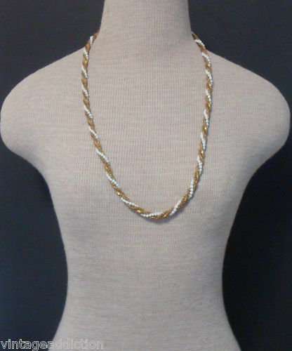 Vintage Miriam Haskell White & Gold Torsade Necklace