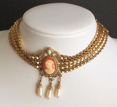 Vintage Multi Chain Cameo Choker  Statement Necklace
