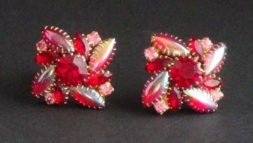 Vintage Schreiner Red Pink Navette Clip Earrings