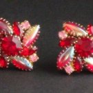 Vintage Schreiner Red Pink Navette Clip Earrings