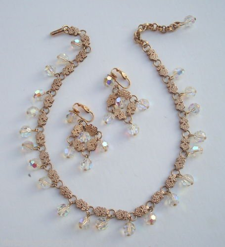 Elegant Vintage Crystal AB Glass Necklace Earrings Set