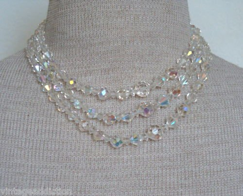 Vintage Crystal Aurora Borealis Glass 3 Strand Necklace
